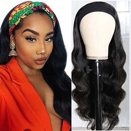Esmode Hair Body Wave Headband Wigs Human Hair Wigs with Headband Attached Machine Made Glueless Wig 150% Density None Lace Front Wig Brazilian Virgin Hair Natural Color for Women (16 Inch)