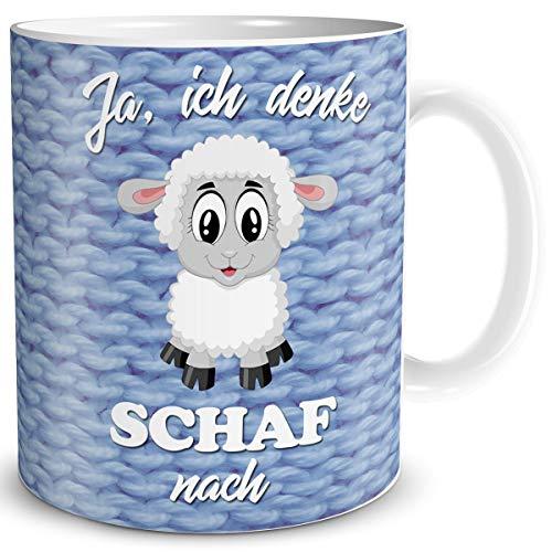 TRIOSK Schaf Tasse mit Spruch lustig Ich denke Schaf nach Schafmotiv Geschenk für Arbeit Büro Frauen Freundin Kollegin Schaffans
