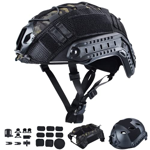 ActionUnion Tactical Airsoft Paintball Fast Helmet with Cover PJ Type Adjustable Protective NVG Mount forMulticam Military Sports Hunting Shooting (Black-CP)