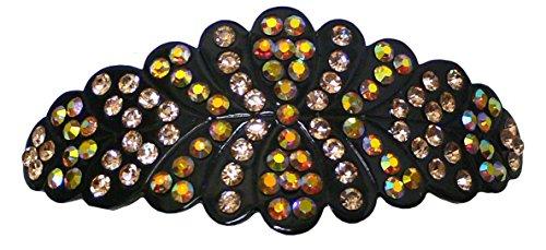 Bella Barrette ovale avec bords festonné décoré de bord à bord avec cristaux étincelants
