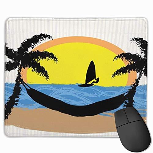 Niedliches Gaming-Mauspad, Schreibtisch-Mauspad, kleine Mauspads für Laptop-Computer, Mausmatten-Strand-Hängematte Lebendige farbige Pinsel gemalte Stil-Silhouette des Windsurfers auf jazzigem Sonnenu