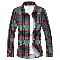 [eleitchtee] カジュアルシャツ メンズ 長袖シャツ チェック柄 大きいサイズ リゾート ビーチ 008-qtnz3003-9719(L グリーン)