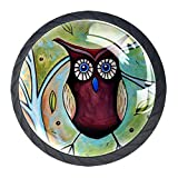 The Whimsical Owl 4 PCS Crystal Clear Glass Cabinet Round Drawer Pulls, Cupboard Knobs with Screws for Kitchen, Dresser, Cupboard, Bathroom, Wardrobe