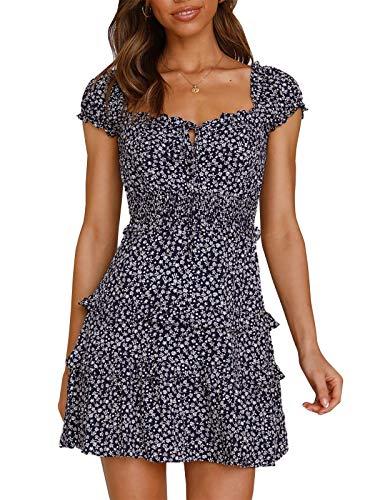 YBENLOVER Kwiaty letnia sukienka damska wysoka talia minisukienka vintage sukienka plażowa sukienka na czas wolny, granatowy, M