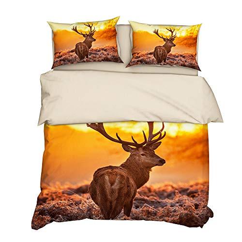 YUN&BO Funda nórdica y Funda de Almohada Patrón de diseño de impresión de Ciervos 3D Juego de Cama de poliéster Decoración de Dormitorio Tamaño Doble/Individual-A9_135 x 200 cm