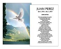 Tarjetas Funerales De Recordatorio (50枚) FPC1226ES Paloma sobre arco iris