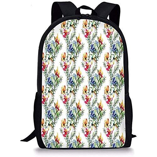 Hui-Shop Mochilas Escolares Decoración Floral, Shabby Chic Decoración Mimosas Margaritas Flores Hojas Brotes Lilas Obra, Multicolor para niños Niñas