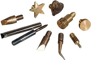 Rayher 69183000 Aufsätze für Brandmalkolben, 10 verschiedene Formen, Schreibspitzen, Linienbrenner, Motivbrenner für Brandmalerei auf Holz, Kork oder Leder