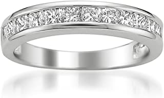 Platinum Princess-Cut Diamond Wedding Band (1cttw, H-I Color, I1-I2 Clarity), Size 8