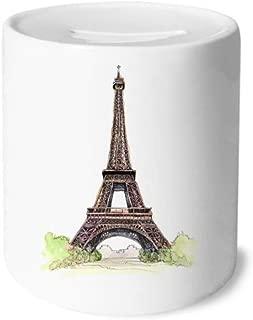 DIYthinker Paris Eiffel Tower in France Money Box Saving Banks Ceramic Coin Case Kids Adults