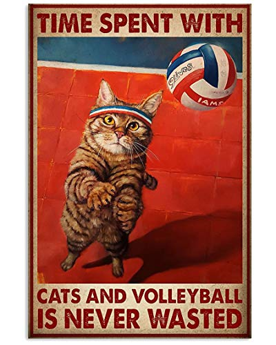 Cat Plays Volleyball, Time Spent with Cats and Volleyball is Never Wasted Poster No Frame Or Framed Canvas 0.75 Inch, Motivational, Meaningful Wall Art Prints, Room Decor