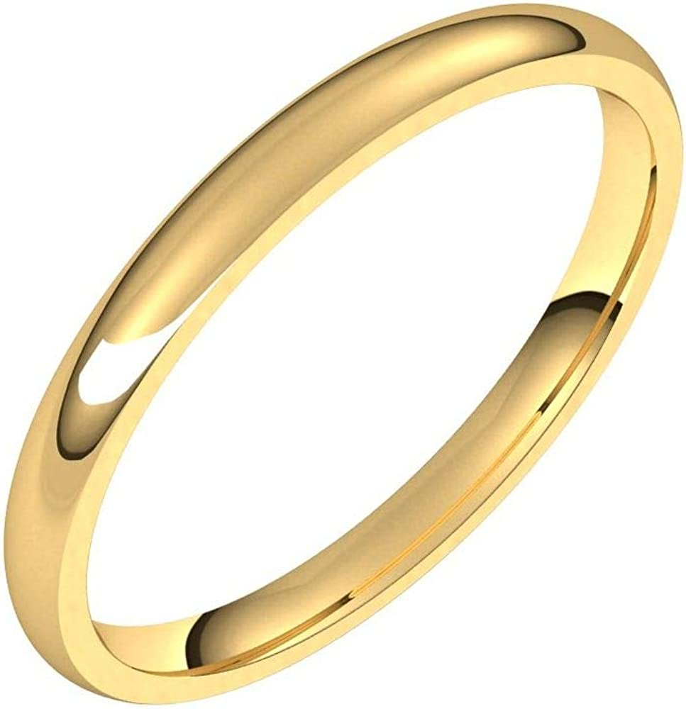 Solid 18k Yellow Gold 2mm Comfort Fit Wedding Band Ring Classic Plain Traditional - Size 11