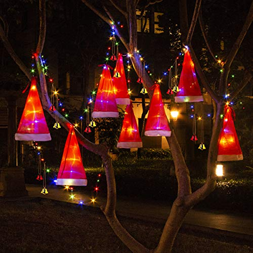 B-Land Christmas Decorations Outdoor 8Pcs Hanging Lighted Glowing Santa Hat with 14Pcs Small Décor Bells 33ft Christmas Lights String Battery Operated with 8 Lighting Modes for Outdoor, Yard, Tree