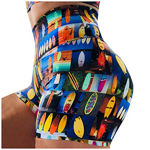 Pantalones de yoga para mujer, estampado de cintura alta, cintura elástica, pantalones cortos para correr, fitness, yoga (C-M)