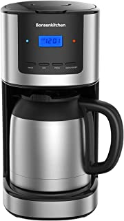 Programmable Coffee Maker, 52 Oz Large Capacity Stainless Steel Coffee Machine with 10 Cup Thermal Carafe and Permanent Filter Basket