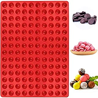 (140-Cavity) - Palksky 140-Cavity Small Round Silicone Mould/Semicircle Chocolate Drops Mould/Dog Treats Pan/Semi Sphere G...