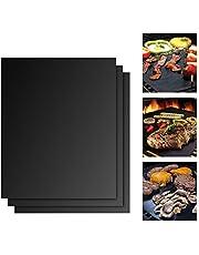 BBQ grillmatta 3-pack för grillning och bakning av teflon non-stick värmebeständig återanvändbar grilltillbehör för gas, kol, ugn, gasolgrill, elgrill 40 x 33 cm svart