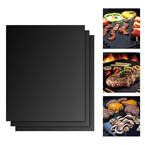Set de 3 tapis pour griller Barbecue et pâtisserie Teflon anti-adhésif La Chaleur Réutilisable Accessoire de Barbecue pour gaz, charbon, Four, Gasgrill, barbecue électrique 40 x 33 cm Noir Schwarze
