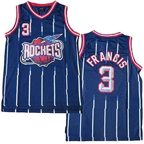 XIAOHAI Jerseys de la NBA de los Hombres - Houston Rockets # 3 Steve Francis Fresco Tela Transpirable Resistente al Desgaste Transpirable Vintage Basketball Jerseys Top Camiseta,S