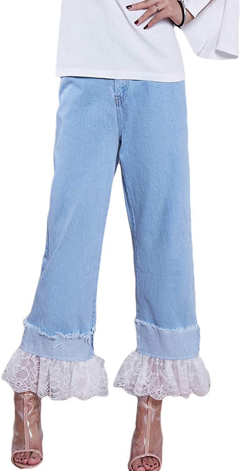 HitZoom Women Creative High Waist Trousers Splice Lace Hem Straight Denim Pants
