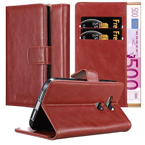 Cadorabo Hülle für Huawei G7 Plus / G8 / GX8 in Wein ROT – Handyhülle mit Magnetverschluss, Standfunktion & Kartenfach – Hülle Cover Schutzhülle Etui Tasche Book Klapp Style