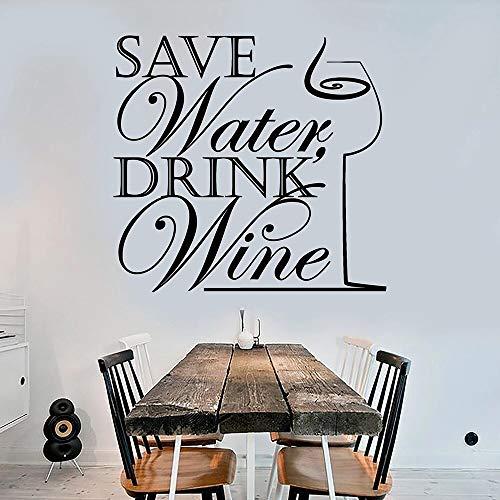 Cita divertida broma calcomanía de pared ahorrar agua beber vino decoración de la cocina pegatinas de pared decoración moderna del hogar autoadhesivo A3 57x60cm