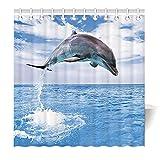 Zomer Duschvorhang 120 x 180 cm Textil Waschbar Anti-Schimmel Badewanne Vorhang Delphin Blau