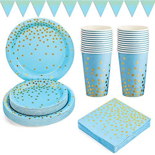 Platos de Papel Fiesta Oro Azul 101PCS Vajilla de Papel Cumpleaños Dorada Incluye Platos de papel de 9' y 7', Servilletas, Vasos de 12 oz, Banner, para Baby Shower, Cumpleaños de Niños (25 Invitados)
