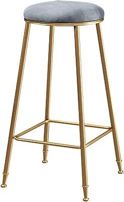 Taburetes modernos Silla con respaldo y reposapi/és para cocina pub bar Taburetes altos Terciopelo Tapizado Verde//azul//rosa Patas de metal dorado Altura del asiento 65 cm