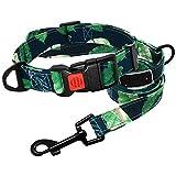 Yisatann Set de Correa y Collar para Perro Collar para Perros Collar para Mascotas Conjunto de Correa Verde Collar Estampado Correa para Perros para Perros pequeños y medianos -L
