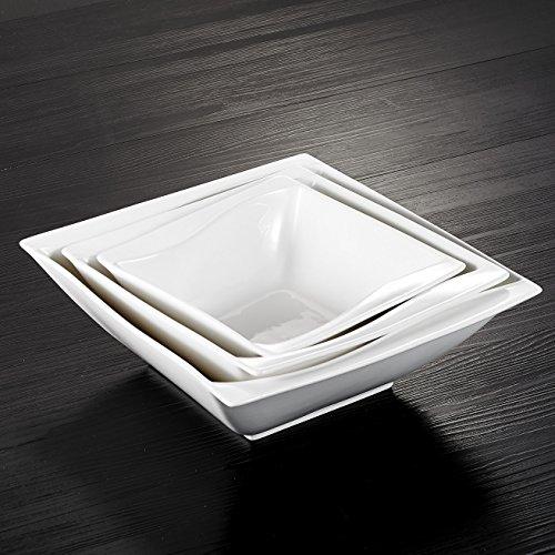 MALACASA, Serie Carina, 3 teilig Set Porzellan Schüsseln Salatschüssel Müslischale Suppenschale Cremeweiß
