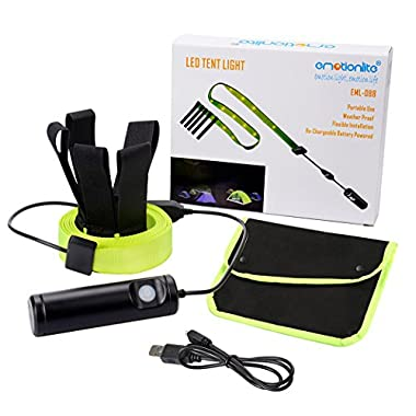Emotionlite LED Camping Lights, Tent Light String Portable Waterproof, 6.3Ft USB Camping Strip Lights with 18 LEDs, Rechargeable Outdoor Emergency Safety Hiki Light
