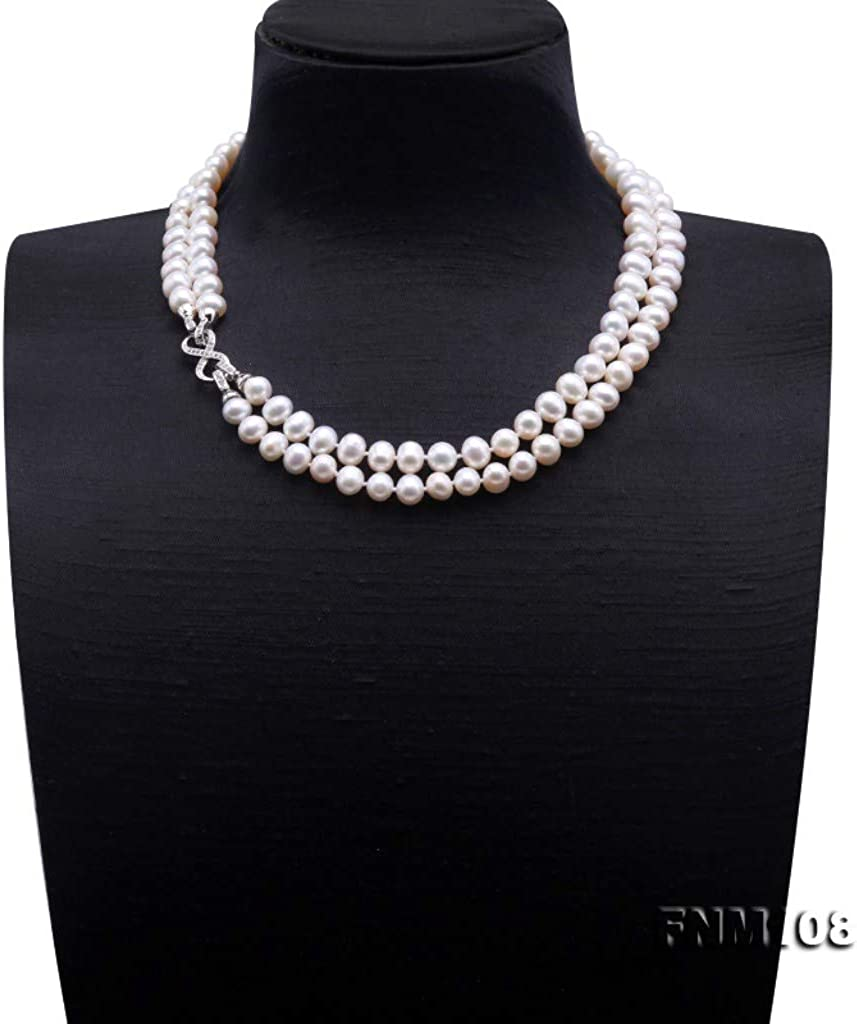 JYX Pearl Double Strand Necklace AA+ Qulaity 9-10mm Flat Round White Freshwater Pearl Necklace 19.5
