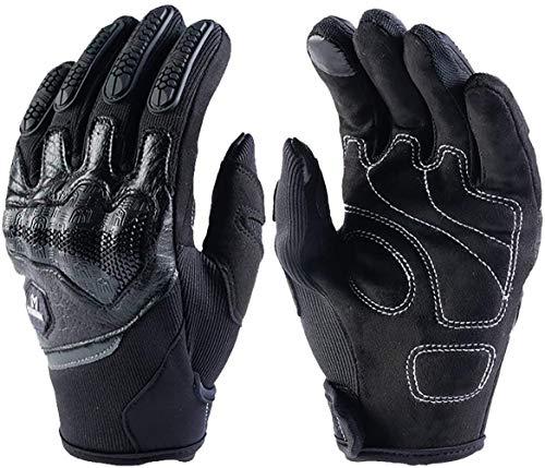 Guantes Moto Piel Cuero de Verano para Hombre,Guantes Sport Pantalla Táctil Transpirable para Moto Motocross Ciclismo Deportivos(Black,XXL)