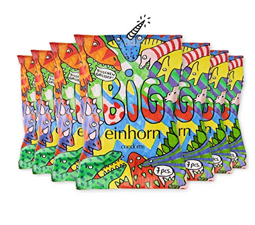 einhorn Kondome Big (57mm) Jahresvorrat - 49 Kondome - 7 Tüten - vegan, hormonfrei, feucht, 100{e23f03e9ea14b4b4431b290777d9fc7d63b6bc2394c18c45086316f440a6e09e} geprüft, XL