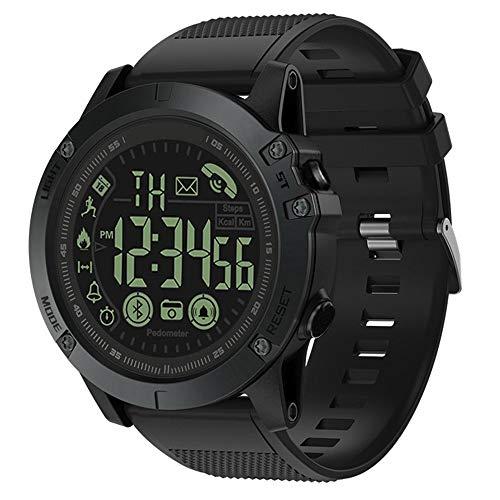 OUYA Reloj Deportivo para Hombre con podómetro, Relojes Digitales de 50 * 14 mm a Prueba de Agua con Bluetooth, Despertador, Mensaje, recordatorio de Llamada,B