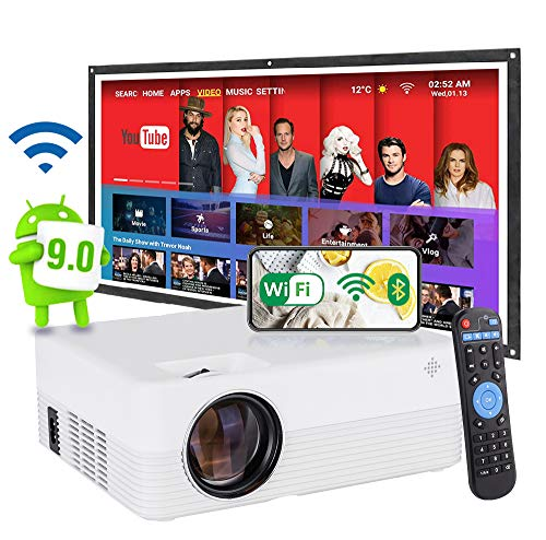 [2021 Android 9.0 OS WiFi Smart 1080P LED Projector] 6500 Lumens, 6000:1 Contrast,5W Speaker, Movie Projector, Home Entertainment, Compatible with Smart Phone, Laptop, Bluetooth.