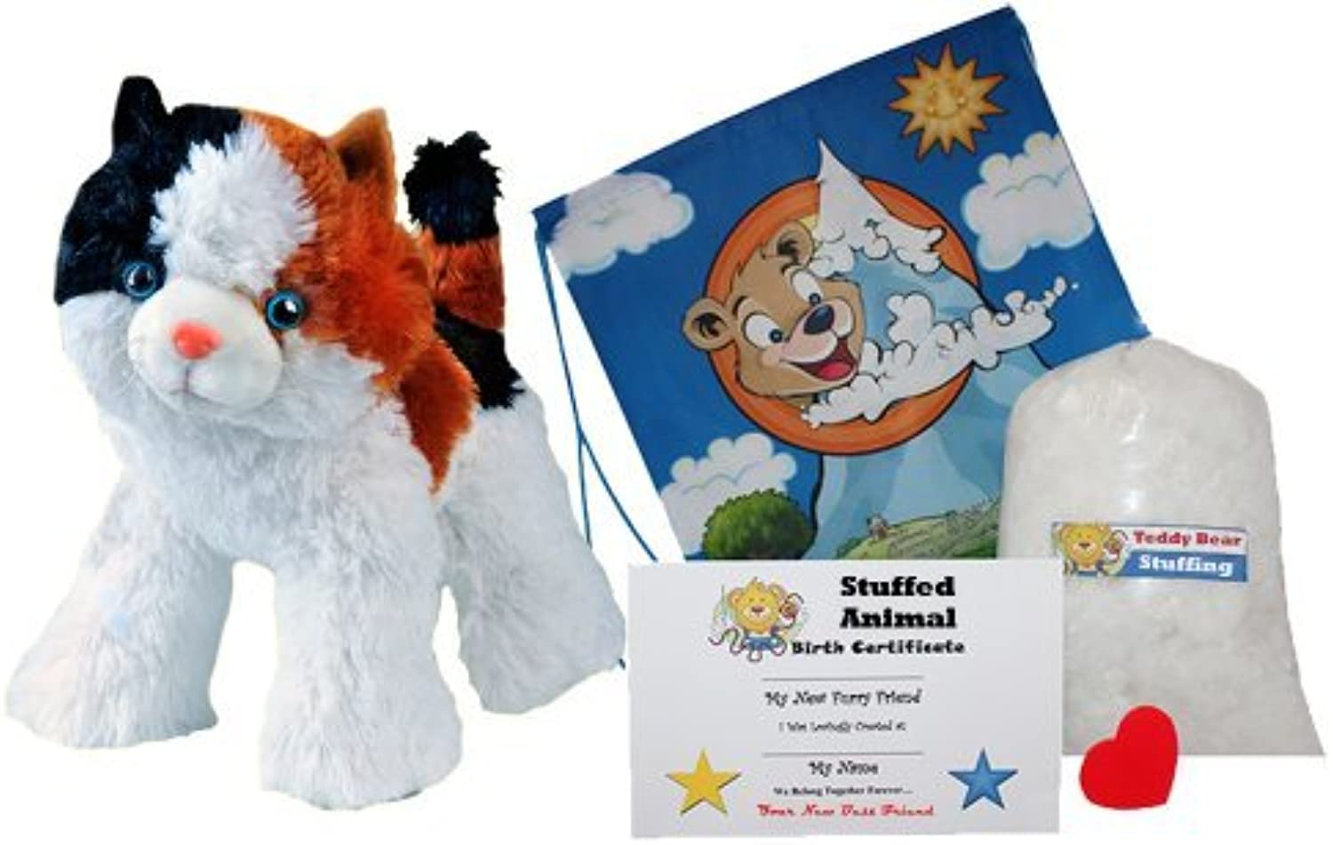 Make Your Own Stuffed Animal Cali the Calico Cat - No Sew - Kit With Cute Backpack  by Stuffems Toy Shop