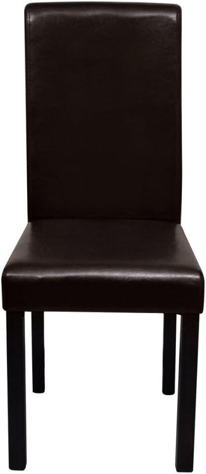 Festnight Set de 4 chaises de salle à manger en cuir artificiel Marron
