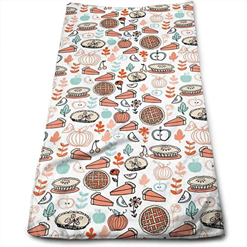 Luxury Hand Towels Dishcloth, Baking Food Pies Kitchen Pumpkin Cotton Buffalo Check Plaid Dish Towels, (11.8x27.5) Monogrammable Oversized Kitchen Towels for Drying, Cleaning, Cooking, Baking