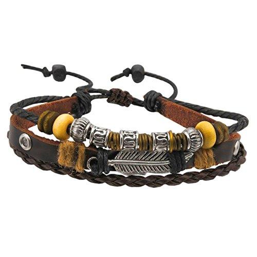 Beyond Dreams Elegant Flügel Perlen Echtleder Armband | Braun Silber Schwarz Lederband | Unisex Metall Legierung Armreif | Verschiebbarer Verschluss