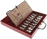 J & J Coleccionable de Madera Juego de ajedrez, Estilo Antiguo y Piezas Chinas, Estrategia clásico Juego de Mesa para Adultos de los niños Familias