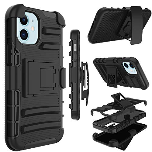 Phone Case for iPhone 12 Mini, Yunerz Holster Heavy Duty Shockproof Full-Body Protective Hybrid Case Cover with Swivel Belt Clip and Kickstand for Apple iPhone 12 Mini 5.4inch (Black)