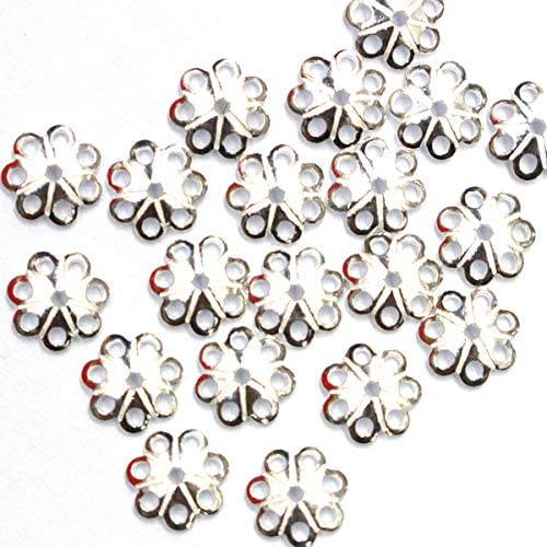 Tacool 40pcs 925 Sterling Silver Bead Caps Charms for Jewelry Making Beads Silver 6mm product image