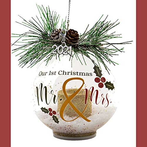 2021 LED Lighted Xmas Ornament - Our First Christmas as Mr. & Mrs. Married - Glass Ball Ornament with White Glittery Snow and Pine Cones and Christmas Greenery - 4 Hour Timer Included