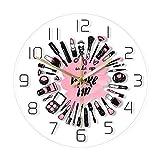 guijinpeng Wake Up & Make Up Cosmetics Collection Reloj de Pared Moderno Salón de Belleza Cartel de Pared para Empresas Set de Maquillaje Reloj de Pared con Movimiento silencioso