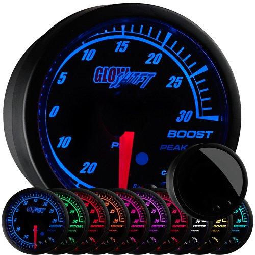 GlowShift Elite 10 Color 30 PSI Boost/Vacuum Gauge Kit - Includes Electronic Pressure Sensor - Black Dial - Tinted Lens - Peak Recall Function - for Car & Truck - 2-1/16' 52mm