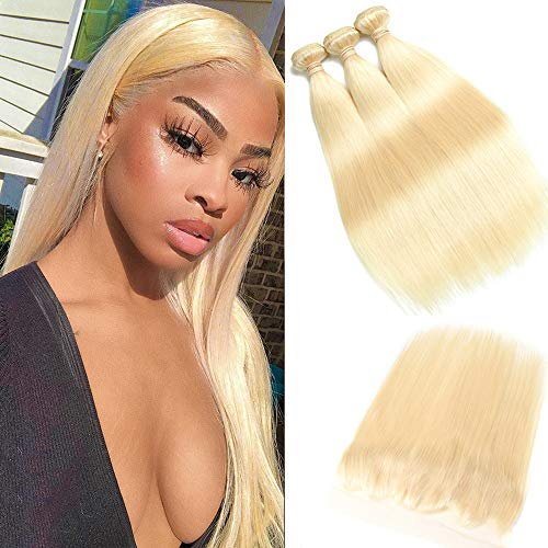 613 Blonde Malaysian Straight Hair Bundles With Frontal 613 Platinum Blonde Human Hair 3 Bundles With Lace Frontal Remy Extension Can Be Dyed (121416+10inch, bundles with frontal)