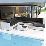 Ksodgun 8-TLG. Garten-Lounge-Set mit Auflagen Sofa-Set Garnitur Gartenmöbel Sitzgruppe Poly Rattan Weiß