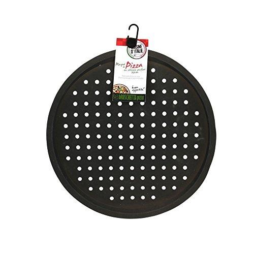 Totally Addict KC2441 Plaque à Pizza Perforée, Silicone, Noir, 32 x 32 x 1,5 cm